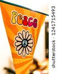 hippie peace text and love...   Shutterstock . vector #1241715493