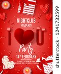 happy valentine's day party... | Shutterstock .eps vector #1241732599