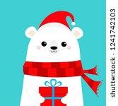 polar white bear cub face... | Shutterstock .eps vector #1241742103