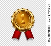 gold medal with red ribbon.... | Shutterstock .eps vector #1241744929