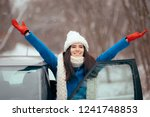 happy female driver standing by ... | Shutterstock . vector #1241748853