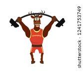 cute  funny deer in sport... | Shutterstock .eps vector #1241753749