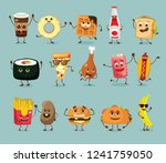 cartoon funny fast foods... | Shutterstock .eps vector #1241759050