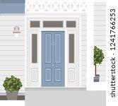 house door front with doorstep  ... | Shutterstock .eps vector #1241766253