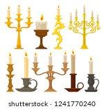 candles in candlesticks set ... | Shutterstock .eps vector #1241770240