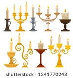 collection of candles in... | Shutterstock .eps vector #1241770243