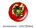 top view plate of wakami salad... | Shutterstock . vector #1241785666