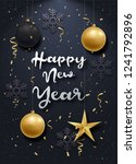 glossy new year background with ... | Shutterstock .eps vector #1241792896