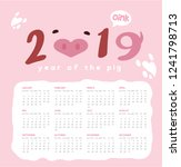 happy pig new year 2019... | Shutterstock .eps vector #1241798713