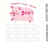happy pig new year 2019... | Shutterstock .eps vector #1241798740