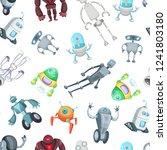 vector cartoon robots pattern... | Shutterstock .eps vector #1241803180