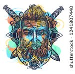 viking tattoo  bearded... | Shutterstock .eps vector #1241807440