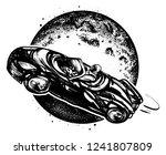 astronaut drives car through... | Shutterstock .eps vector #1241807809