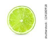 slice of fresh lime on white background - stock photo