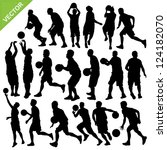 men basketball silhouettes... | Shutterstock .eps vector #124182070