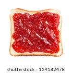 slice of bread with strawberry jam isolated - stock photo