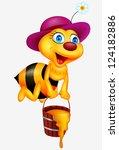 Stock vector bee cartoon with honey bucket 124182886