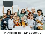 group of kids caring about... | Shutterstock . vector #1241838976