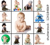 Stock photo collection baby photos on a white background 124184869