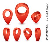 map pointer 3d pin. pointer red ... | Shutterstock .eps vector #1241854630
