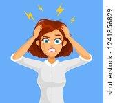 stressed cartoon business woman ... | Shutterstock .eps vector #1241856829