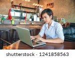 short hair and purple hair she... | Shutterstock . vector #1241858563