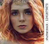 beautiful redhead norwegian... | Shutterstock . vector #1241875873