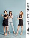 three women celebrate the...   Shutterstock . vector #1241888449