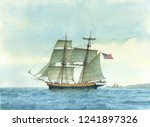 tall ship watercolor painting ... | Shutterstock . vector #1241897326