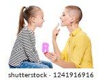 cute young girl with speech...   Shutterstock . vector #1241916916