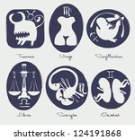 set of funny signs of the zodiac | Shutterstock .eps vector #124191868