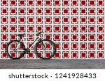 white fixed gear bicycle on... | Shutterstock . vector #1241928433