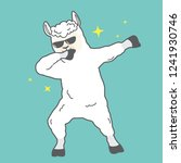 dabbing llama with stars. cute... | Shutterstock .eps vector #1241930746