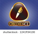 golden emblem with pen icon... | Shutterstock .eps vector #1241934130