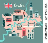 london illustrated map vector....   Shutterstock .eps vector #1241938456
