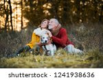 Stock photo a senior couple with a dog in an autumn nature at sunset 1241938636