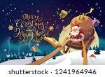 santa in a winter village... | Shutterstock . vector #1241964946