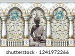 3d wallpaper  silver buddha...   Shutterstock . vector #1241972266
