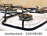 burners on the gas stove in the ... | Shutterstock . vector #124198180