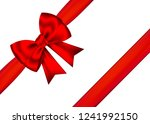 red realistic gift bow with... | Shutterstock .eps vector #1241992150