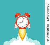 red alarm clock rocket ship... | Shutterstock .eps vector #1241995990
