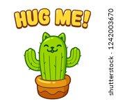 Cute Cartoon Cactus Cat Drawin...