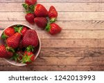 Flat Lay Of Fresh Strawberry I...