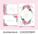 floral wedding invitation with... | Shutterstock .eps vector #1242025849