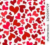 pattern red hearts  vector... | Shutterstock .eps vector #1242049729