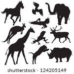 Stock vector animals silhouette 124205149