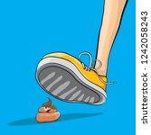 step on poo cartoon comic... | Shutterstock .eps vector #1242058243