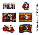 swaziland flag and map in... | Shutterstock . vector #124206346