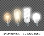 set of electric lamps  tungsten ... | Shutterstock .eps vector #1242075553