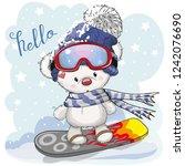 cute cartoon bear on a... | Shutterstock .eps vector #1242076690